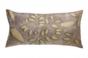 Eucalyptus printed silk cushion cover, feather liner