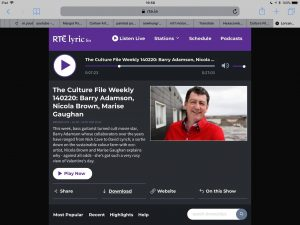 Nicola's interview for Culture File on Lyric Fm