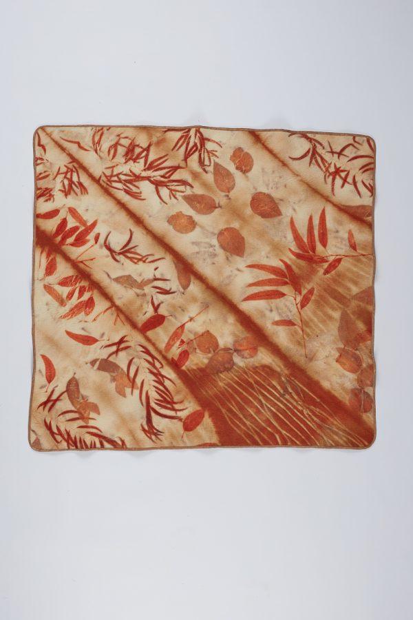 Wet felted and eco printed lap blanket by Nicola Brown